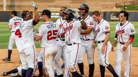 Felix Pie's walk-off hit snapped the G-Braves 15-game losing skid on Sunday. (Karl Moore)